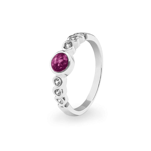 EverWith Ladies True Memorial Ashes Ring with Fine Crystals