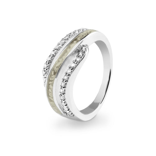 EverWith Ladies Oceans Memorial Ashes Ring with Fine Crystals