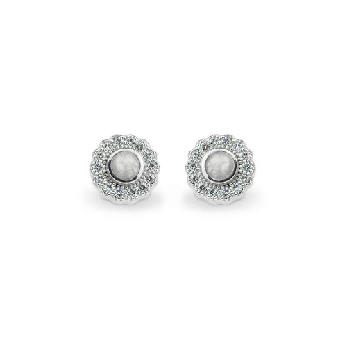 EverWith Ladies Petals Memorial Ashes Earrings with Fine Crystals