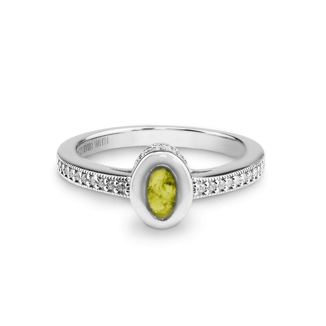Load image into Gallery viewer, EverWith™ Ladies Oval Halo Memorial Ashes Ring with Swarovski Crystals