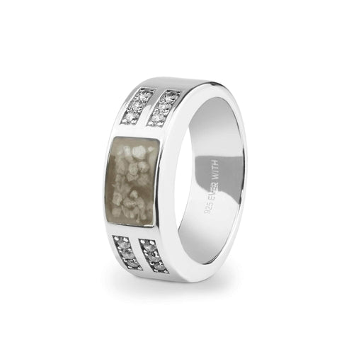 EverWith Gents Oblong Memorial Ashes Ring with Fine Crystals
