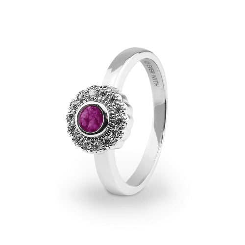 EverWith Ladies Petals Memorial Ashes Ring with Fine Crystals