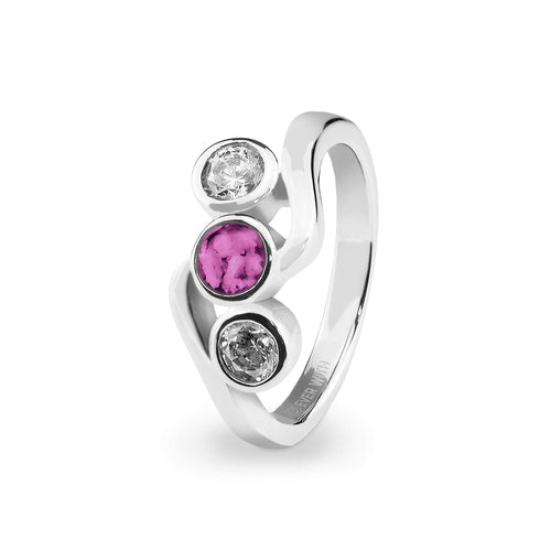 EverWith™ Ladies Three Of Us Memorial Ashes Ring with Swarovski Crystals