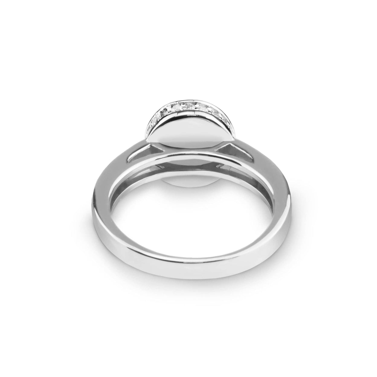 Load image into Gallery viewer, EverWith™ Ladies Round Halo Memorial Ashes Ring with Swarovski Crystals