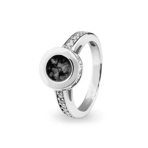 EverWith™ Ladies Round Halo Memorial Ashes Ring with Swarovski Crystals