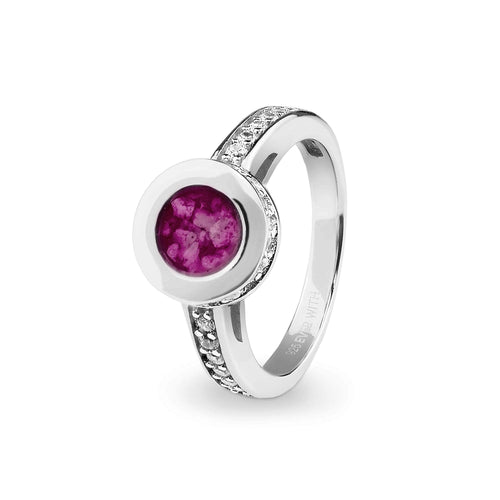 EverWith Ladies Round Halo Memorial Ashes Ring with Fine Crystals