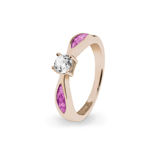 EverWith Ladies Solitaire Memorial Ashes Ring with Fine Crystals
