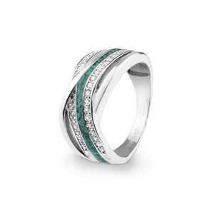 EverWith™ Ladies Waves Memorial Ashes Ring with Swarovski Crystals