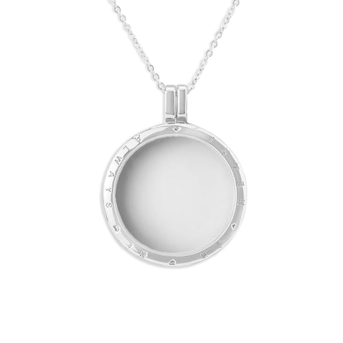 EverWith™ Large Round Glass Locket Sterling Silver Cremation Ashes Locket