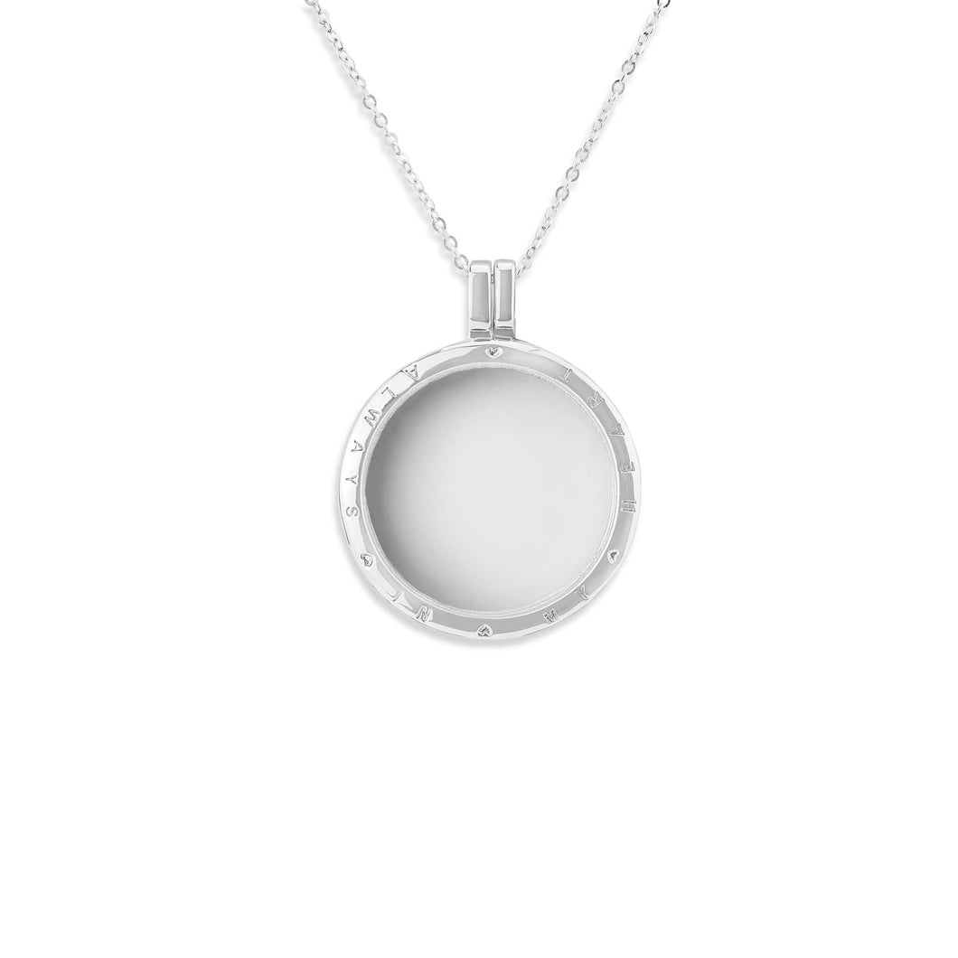 EverWith™ Small Round Glass Locket Sterling Silver Cremation Ashes Locket