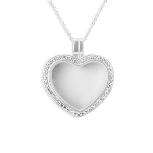 EverWith™ Large Heart Glass Locket Sterling Silver Cremation Ashes Locket With Swarovski Crystals