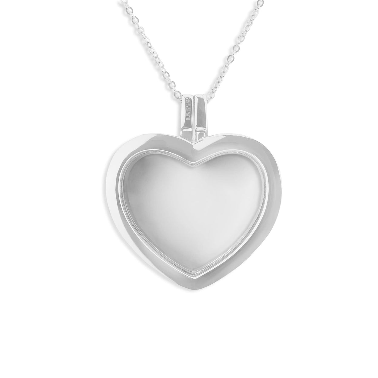 Load image into Gallery viewer, EverWith™ Large Heart Glass Locket Sterling Silver Cremation Ashes Locket With Swarovski Crystals