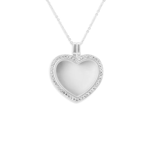 EverWith™ Small Heart Glass Locket Sterling Silver Cremation Ashes Locket With Swarovski Crystals