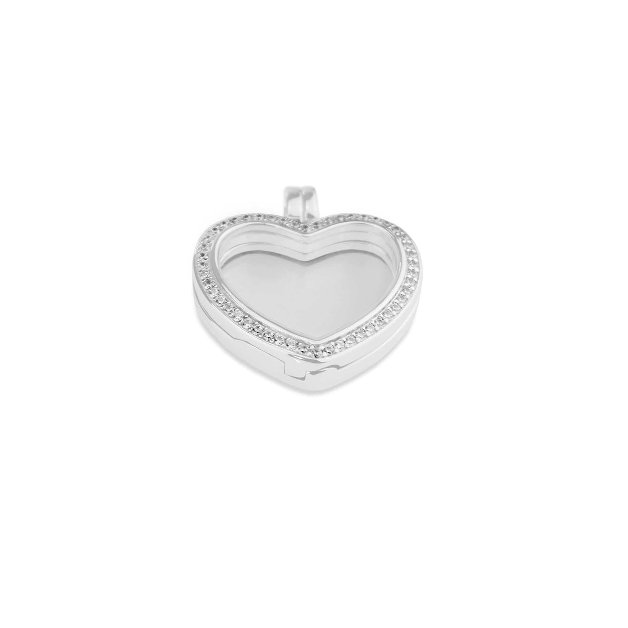 Load image into Gallery viewer, EverWith™ Small Heart Glass Locket Sterling Silver Memorial Ashes Locket With Swarovski Crystals