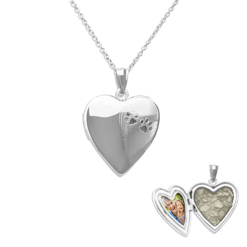 EverWith™ Paw Print Heart Shaped Sterling Silver Cremation Ashes Locket