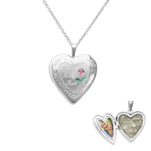 EverWith Pink Rose Heart Shaped Sterling Silver Memorial Ashes Locket