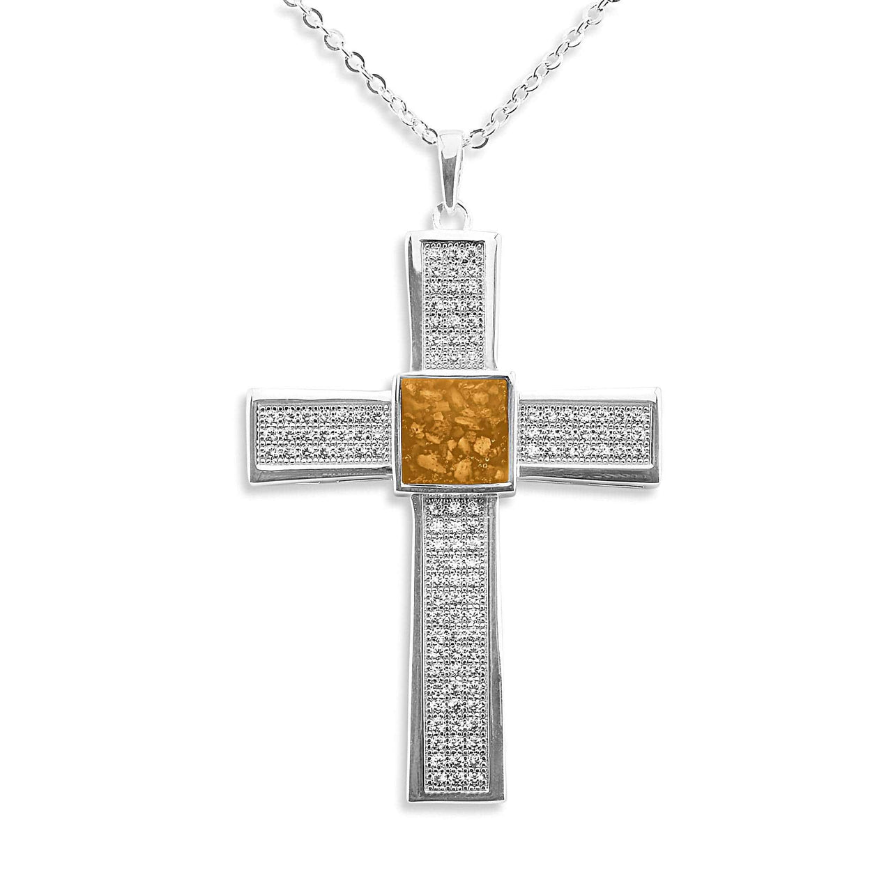 Load image into Gallery viewer, EverWith™ Gents Oversized Cross Memorial Ashes Pendant with Swarovski Crystals