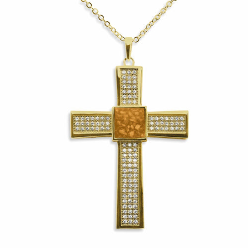 EverWith™ Gents Oversized Cross Memorial Ashes Pendant with Swarovski Crystals