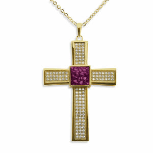 EverWith Gents Oversized Cross Memorial Ashes Pendant with Fine Crystals