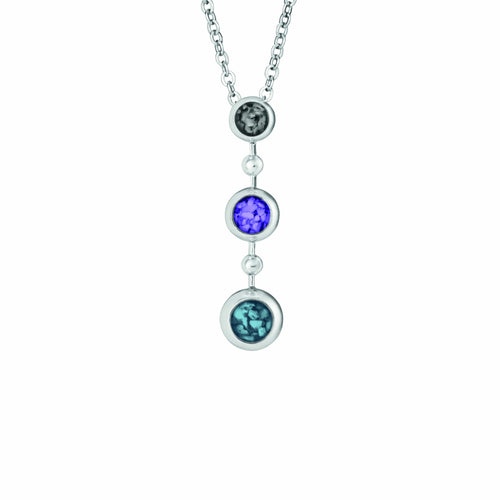 EverWith Ladies Rondure Triple Drop Memorial Ashes Necklace