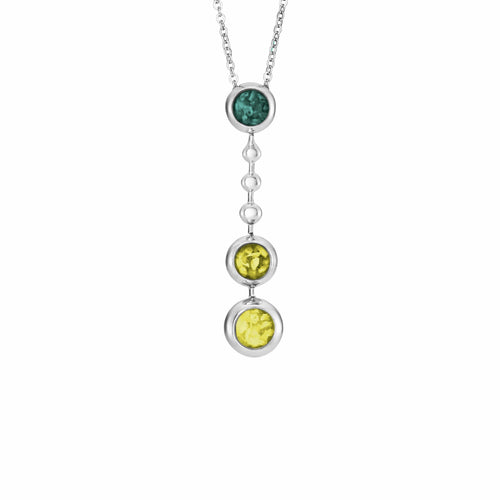 EverWith Ladies Rondure Triple Ball Drop Memorial Ashes Necklace