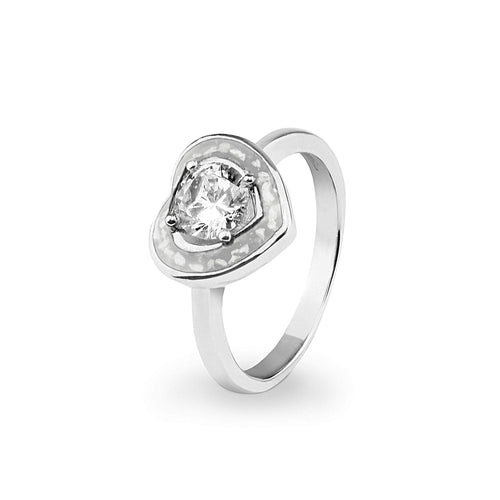 EverWith Ladies Beloved Memorial Ashes Ring with Fine Crystal