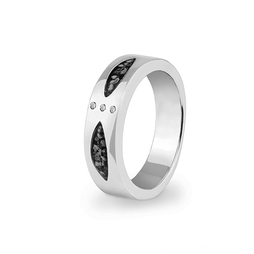 EverWith™ Unisex Three Together Memorial Ashes Ring with Swarovski Crystals