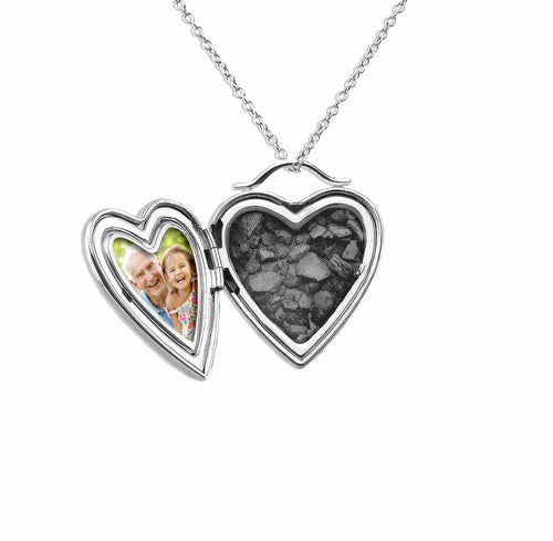 EverWith Shining Star Heart Shaped Sterling Silver Memorial Ashes Locket