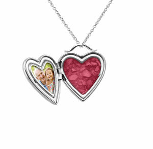 EverWith™ Shining Star Heart Shaped Sterling Silver Memorial Ashes Locket