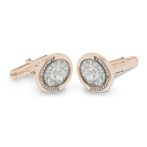 EverWith™ Gents Fancy Oval Memorial Ashes Cufflinks with Swarovski Crystals
