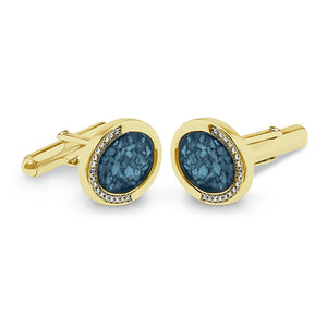 EverWith Gents Fancy Oval Memorial Ashes Cufflinks with Fine Crystals