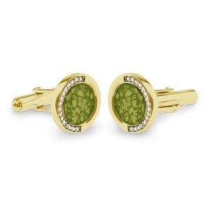 EverWith™ Gents Fancy Round Memorial Ashes Cufflinks with Swarovski Crystals