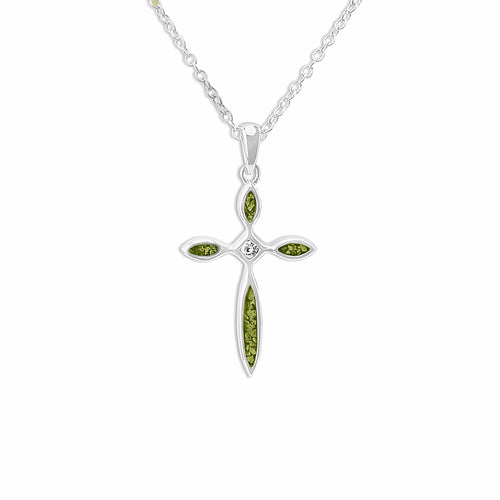EverWith Unisex Solace Cross Memorial Ashes Pendant with Fine Crystal