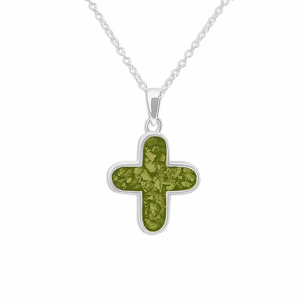 EverWith™ Unisex  Rounded Cross Memorial Ashes Pendant