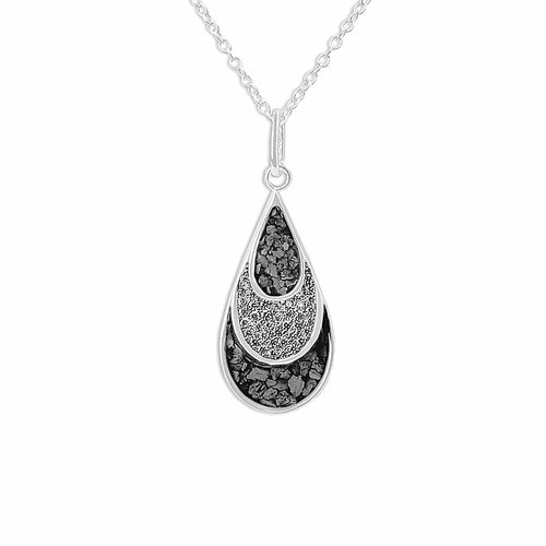 EverWith™ Ladies Layered Teardrop Memorial Ashes Pendant with Swarovski Crystals