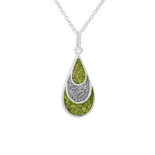 EverWith Ladies Layered Teardrop Memorial Ashes Pendant with Fine Crystals