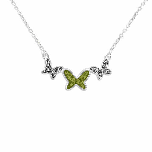 EverWith™ Ladies Butterflies Memorial Ashes Necklace with Swarovski Crystals