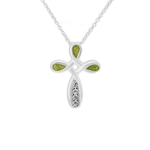 EverWith Unisex Celtic Cross Memorial Ashes Pendant with Fine Crystals