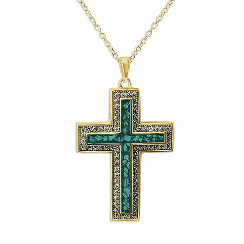 EverWith Unisex Cross Memorial Ashes Pendant with Fine Crystals