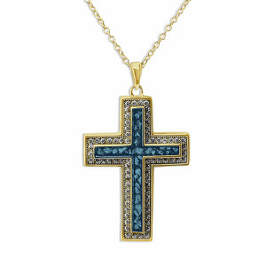 EverWith™ Unisex Cross Memorial Ashes Pendant with Swarovski Crystals