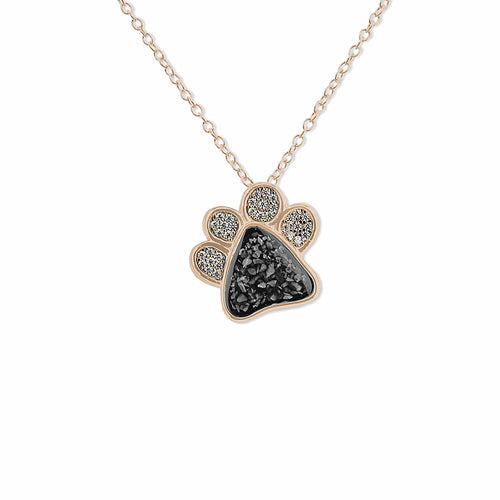 EverWith™ Unisex Paw Print Memorial Ashes Pendant with Swarovski Crystals