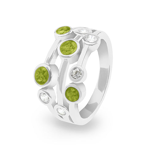 EverWith Ladies Droplets Memorial Ashes Ring with Fine Crystals