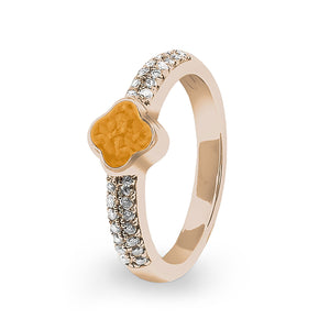 EverWith™ Ladies Clover Memorial Ashes Ring with Swarovski Crystals