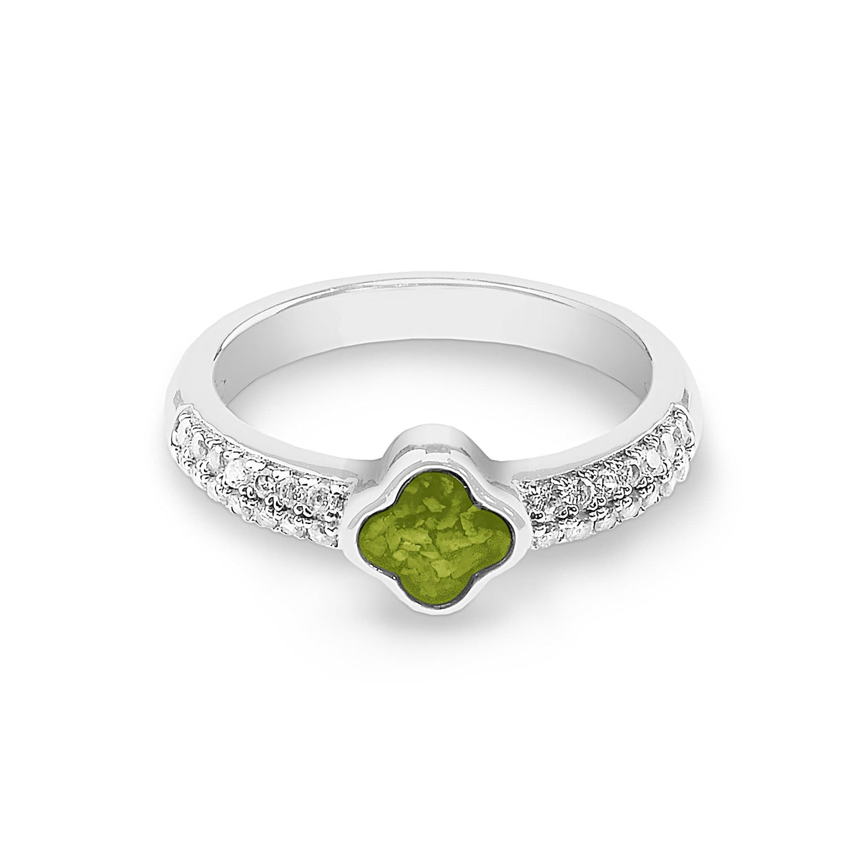 Load image into Gallery viewer, EverWith™ Ladies Clover Memorial Ashes Ring with Swarovski Crystals