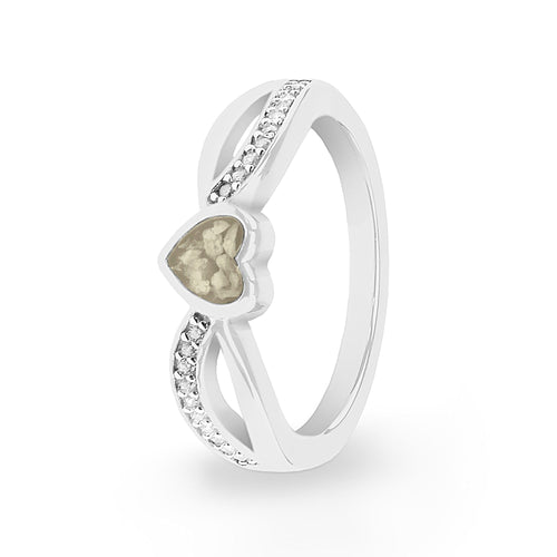 EverWith Ladies Truelove Memorial Ashes Ring with Fine Crystals