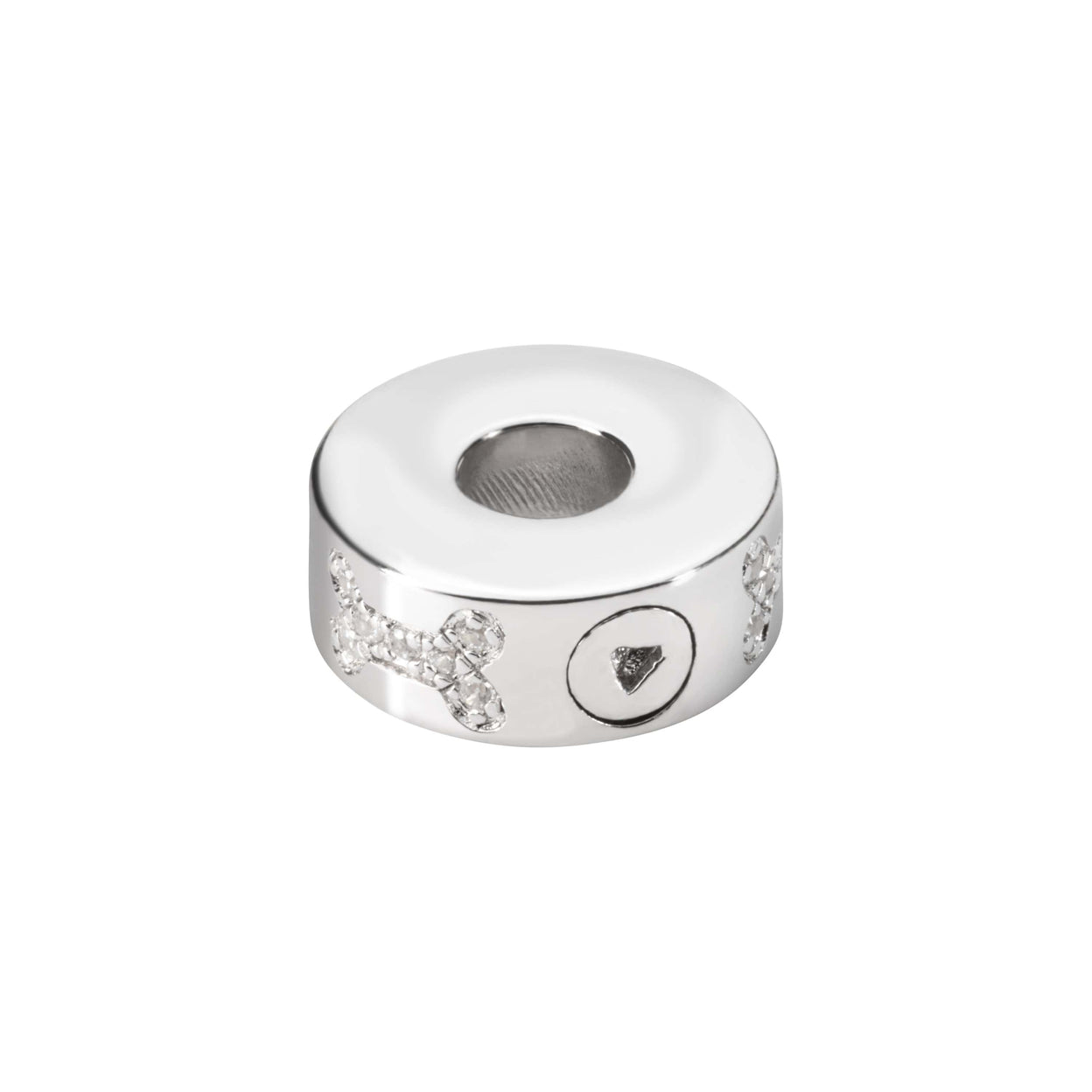 Load image into Gallery viewer, EverWith™ Self-fill Round Dog Bone Memorial Ashes Charm Bead with Crystals
