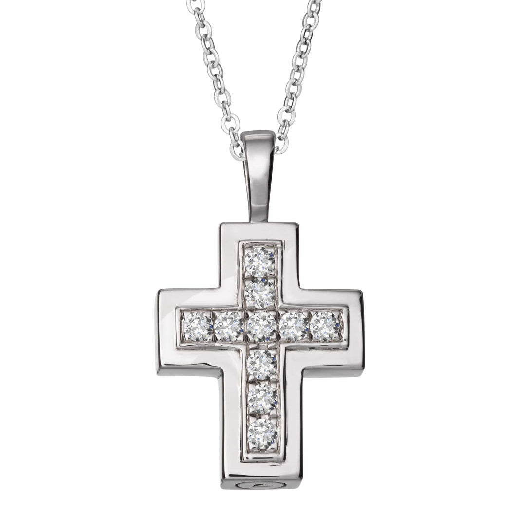 EverWith™ Self-fill Cross Memorial Ashes Pendant with Crystals