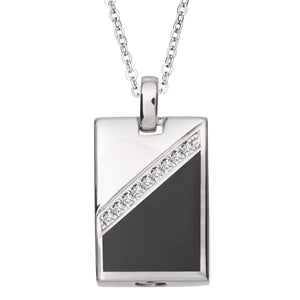 EverWith™ Self-fill Black Dog Tag Memorial Ashes Pendant with Crystals