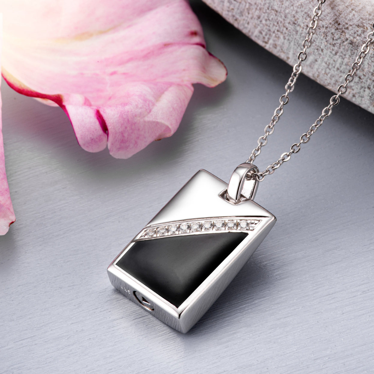 Load image into Gallery viewer, EverWith™ Self-fill Black Dog Tag Memorial Ashes Pendant with Crystals