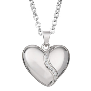 EverWith™ Self-fill Heart Shaped Cremation Ashes Pendant with Crystals